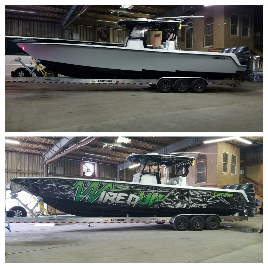 contender boat, boat wrap, boat graphics, full boat wrap,