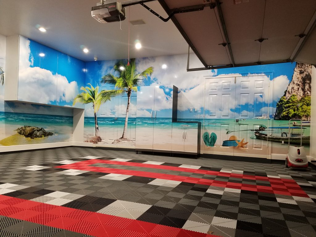 wall wraps, man cave, garage transformation, wall graphics
